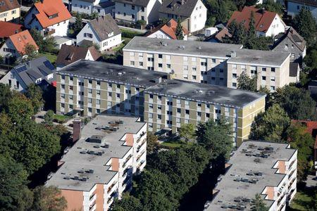 General view at residential building of village Groebenzell