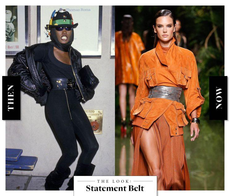 The Statement Belt as seen on Grace Jones in the '80s, and at Balmain today. (Photo: Getty Images)