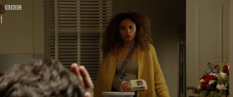 Chantelle (Jessica Plummer) fears for her safety as Gray's mood darkens in EastEnders.