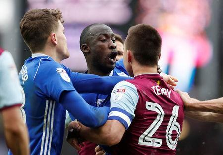 Soccer Football - Championship - Aston Villa vs Birmingham City - Villa Park, Birmingham, Britain - February 11, 2018 Birmingham City's Cheick Ndoye clashes with Aston Villa's John Terry as he is sent off Action Images/Matthew Childs