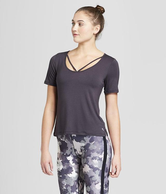 "<p>Women's Strappy V-Neck T-Shirt, $19,<a href=""https://www.target.com/p/women-s-strappy-v-neck-t-shirt-joylab-153/-/A-52862815"" rel=""nofollow noopener"" target=""_blank"" data-ylk=""slk:target.com"" class=""link rapid-noclick-resp""> target.com</a><br> Women's Performance 7/8 Camp Print Leggings, $35, <a href=""https://www.target.com/p/women-s-performance-7-8-camo-print-leggings-joylab-153-black-white/-/A-52863136#lnk=sametab"" rel=""nofollow noopener"" target=""_blank"" data-ylk=""slk:target.com"" class=""link rapid-noclick-resp"">target.com</a><br><br></p>"