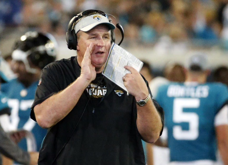 "<a class=""link rapid-noclick-resp"" href=""/nfl/teams/jac"" data-ylk=""slk:Jacksonville Jaguars"">Jacksonville Jaguars</a> head coach Doug Marrone told reporters Wednesday he hasn't watched a Super Bowl in decades. (AP Photo/Stephen B. Morton, File)"