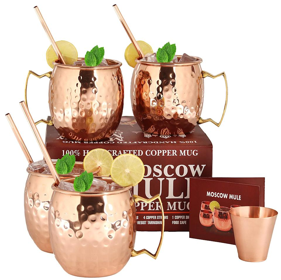 """<h3>Moscow Mule Copper Mugs</h3><br>Outdoor cocktail season is officially underway, so grab your ginger beer and spirit of choice to DIY this iconic refreshing elixir.<br><br><strong>Rating:</strong> 4.7 out of 5 stars, and 3,620 reviews<br><br><strong>A Satisfied Customer Review: </strong>""""Very well made copper cups for making Moscow Mules. I like the copper straws that it also comes with. The cups are bright and shiny and come with a recommendation to use a copper cleaner on them to keep away tarnish. There is also a small recipe book.""""<br><br><strong>A29</strong> Moscow Mule Copper Mugs - Set of 4, $, available at <a href=""""https://amzn.to/3aYLFPw"""" rel=""""nofollow noopener"""" target=""""_blank"""" data-ylk=""""slk:Amazon"""" class=""""link rapid-noclick-resp"""">Amazon</a>"""