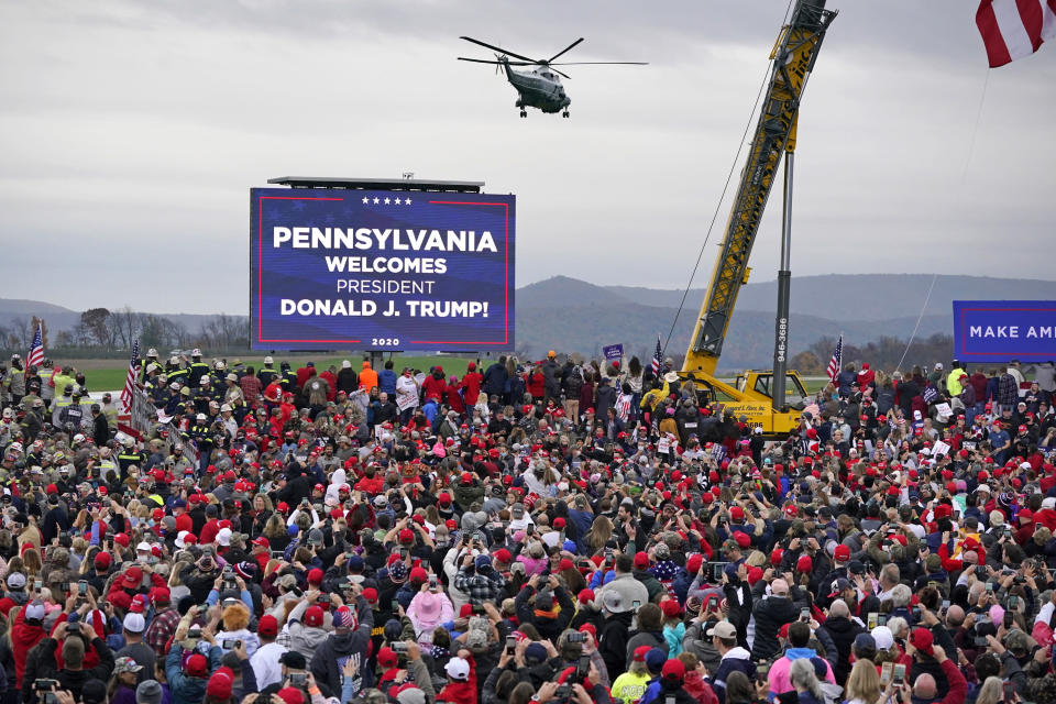 Marine One helictopter, with President Donald Trump aboard, lands at the Altoona-Blair County Airport in Martinsburg, Pa, Monday, Oct. 26, 2020 for a campaign rally. (AP Photo/Gene J. Puskar)