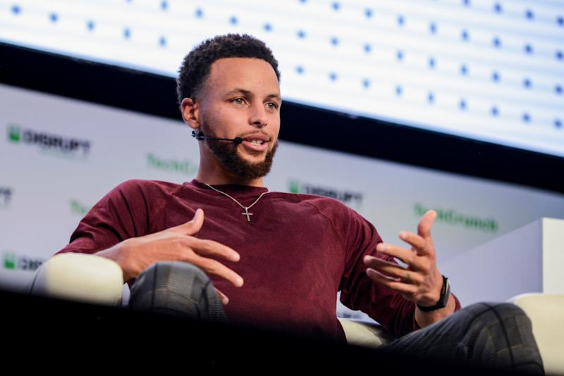 Stephen Curry, Golden Gate Warriors MVP, introduces SC30 Inc. during the TechCrunch Disrupt forum in San Francisco, California, U.S. October 2, 2019. REUTERS/Kate Munsch