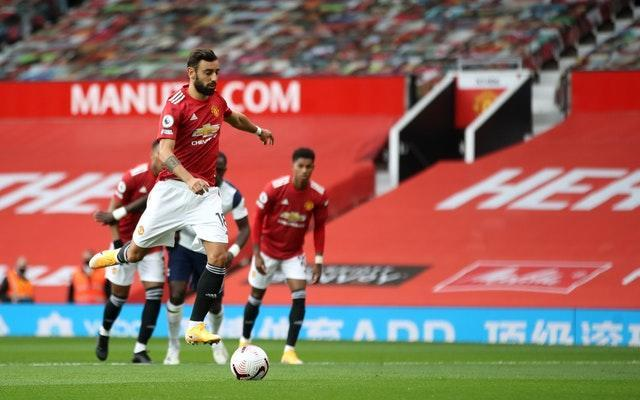 Manchester United's Bruno Fernandes takes a penalty against Tottenham