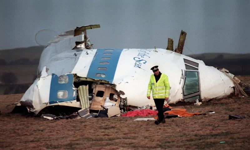 The remains of Pan Am Flight 103 that exploded and crashed over Lockerbie, Scotland, on 21 December 1988.