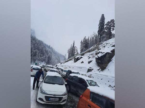 A visual from road between South Portal of Atal Tunnel and Solang Nalla in Manali. (Photo/ANI)