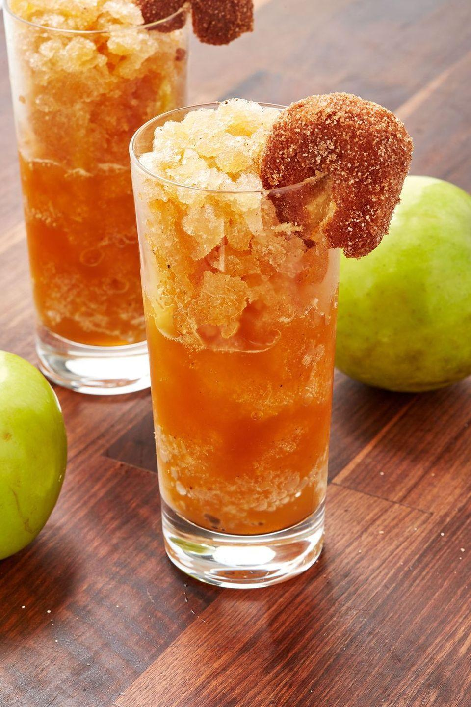 "<p>You've probably had plenty of apple ciders this season, but how about apple cider slushies? This twist on a classic full drink is a chilling way to spend your Halloween.</p><p><em><a href=""https://www.delish.com/cooking/recipes/a49600/apple-cider-slushies-recipe/"" rel=""nofollow noopener"" target=""_blank"" data-ylk=""slk:Get the recipe from Delish »"" class=""link rapid-noclick-resp""> Get the recipe from Delish »</a></em></p>"