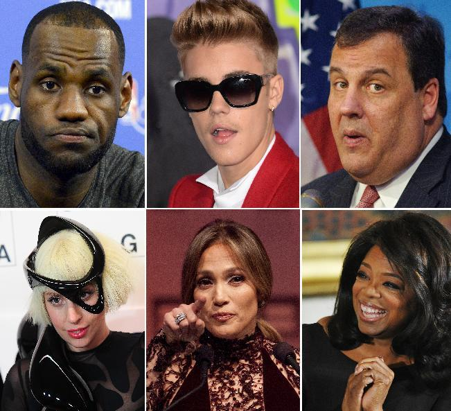 """(Clockwise from upper right) Lebron James, Justin Bieber, Governor Chris Christie, Oprah Winfrey, Jennifer Lopez and Lady Gaga have all taken the """"ALS Ice Bucket Challenge (AFP Photo/)"""