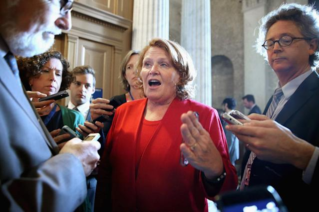 Sen. Heidi Heitkamp, D-N.D., talks with reporters following a 2015 Democratic Senate policy luncheon. (Photo: Chip Somodevilla/Getty Images)