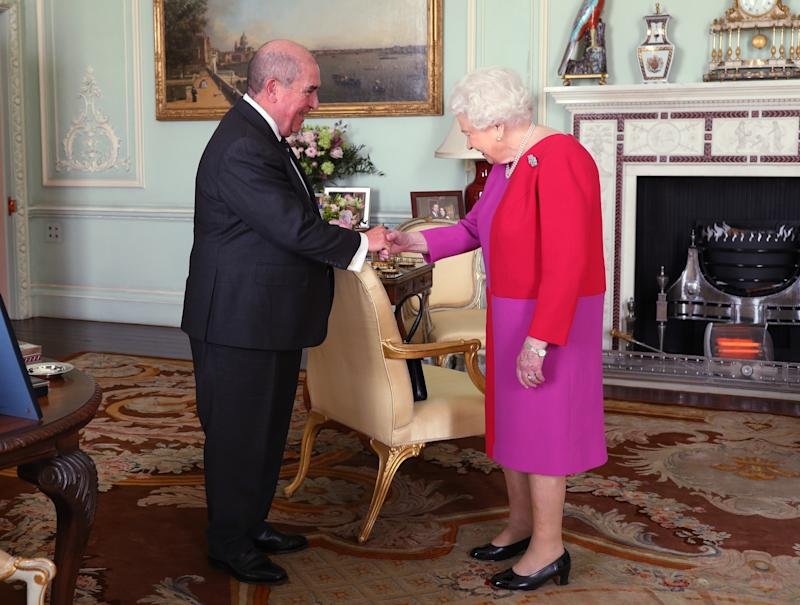 LONDON, ENGLAND - MARCH 11: Queen Elizabeth II, receives Professor Mark Compton, Lord Prior of the Order of St John, during an audience, where he presented Her Majesty with the Orders first ever Service Medal in Gold, at Buckingham Palace on March 11, 2020 in London, England. (Photo by Yui Mok - WPA Pool/Getty Images)