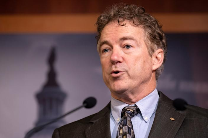 Sen. Rand Paul, R-Ky., speaks during a news conference on Capitol Hill on Thursday.