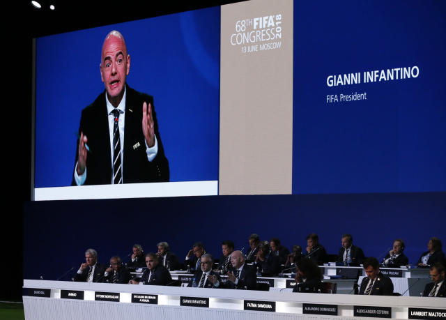 FIFA President Gianni Infantino speaks at the FIFA congress on the eve of the opener of the 2018 soccer World Cup in Moscow, Russia, Wednesday, June 13, 2018. The congress in Moscow is set to choose the host or hosts for the 2026 World Cup. (AP Photo/Alexander Zemlianichenko)