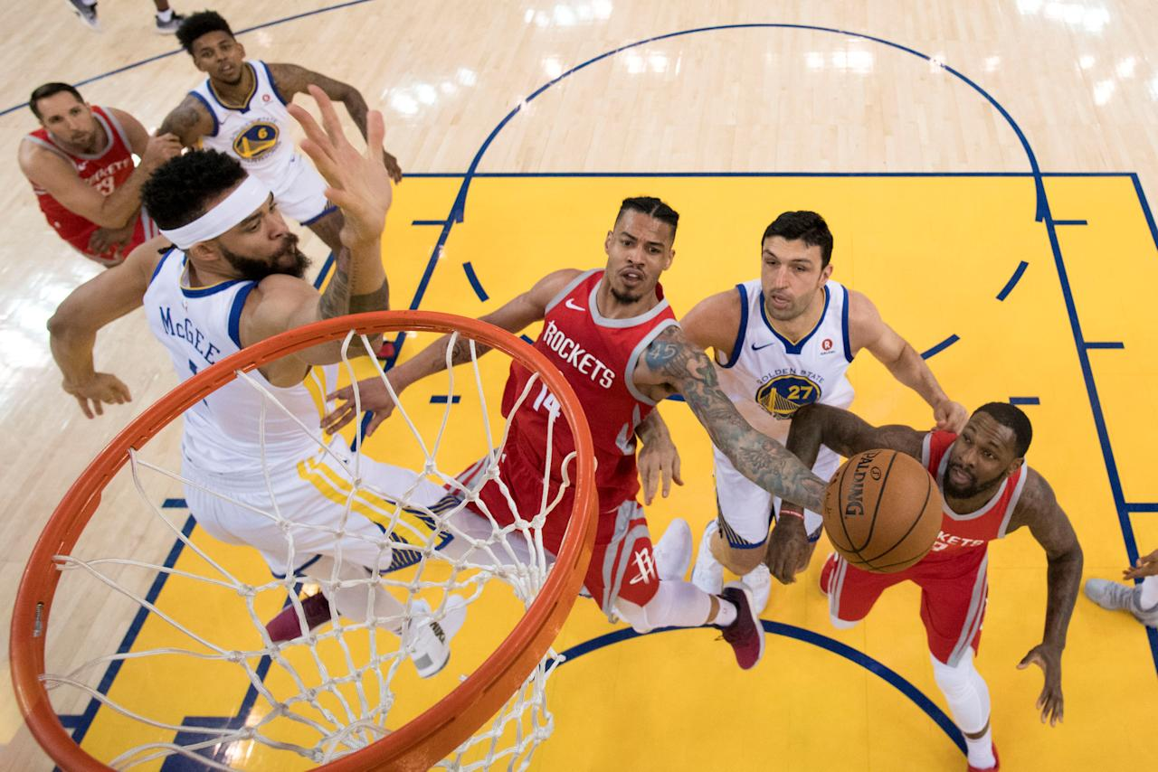 May 20, 2018; Oakland, CA, USA; Houston Rockets guard Gerald Green (14) shoots the basketball against Golden State Warriors center Zaza Pachulia (27) during the second half in game three of the Western conference finals of the 2018 NBA Playoffs at Oracle Arena. The Warriors defeated the Rockets 126-85. Mandatory Credit: Kyle Terada-USA TODAY Sports     TPX IMAGES OF THE DAY