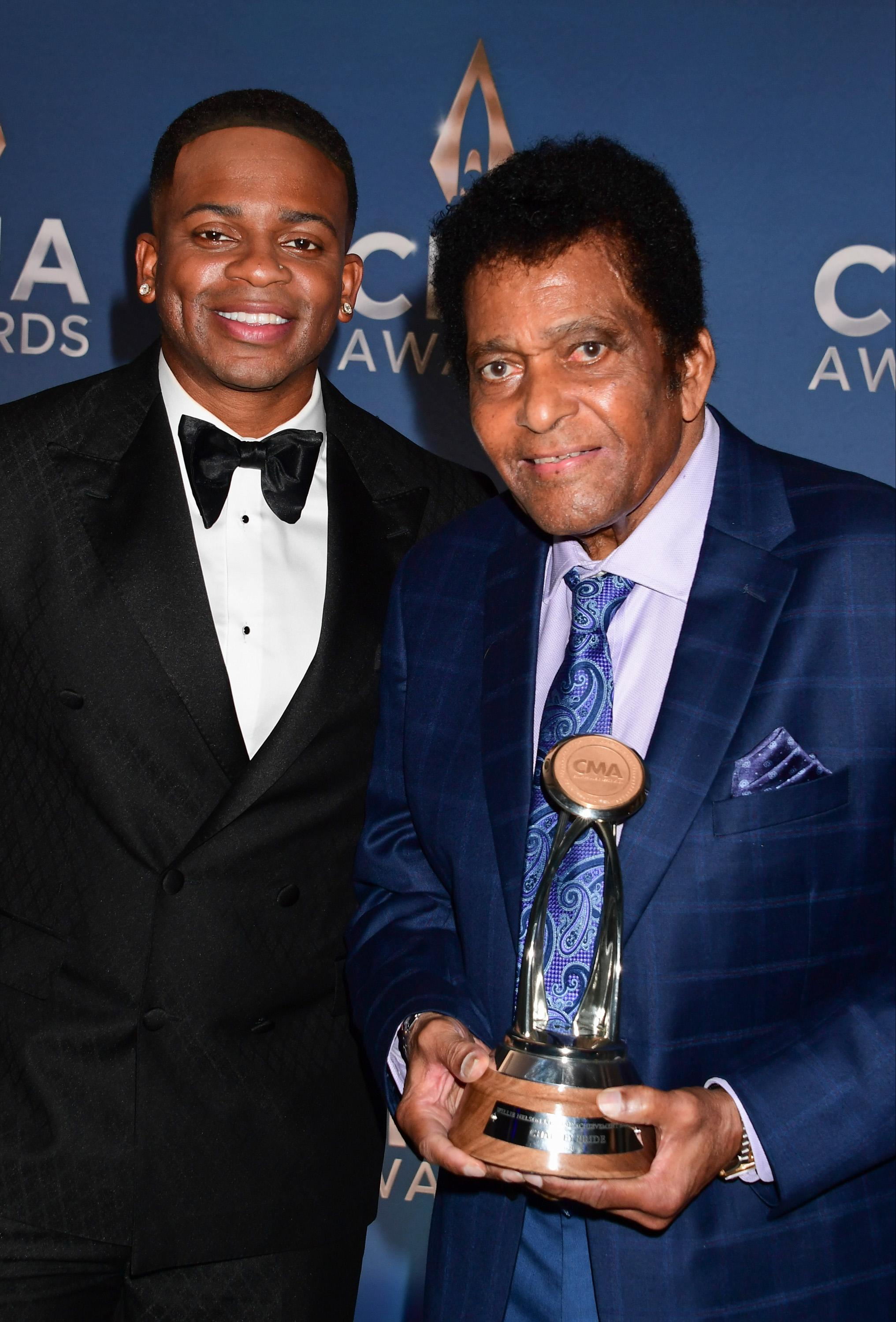 Jimmie Allen and Charley Pride at the 54th Annual CMA Awards. (Photo: ABC via Getty Images)