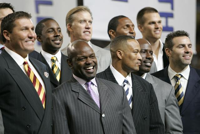 In 2006 the NFL honored former Super Bowl MVPs, going clockwise starting from left: Mark Rypien, Desmond Howard, John Elway, Ray Lewis, Tom Brady, Kurt Warner, Terrell Davis, Larry Brown and Emmitt Smith. (AP)
