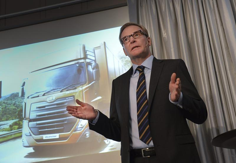 Volvo Chief Executive Olof Persson gestures during a news conference in Stockholm