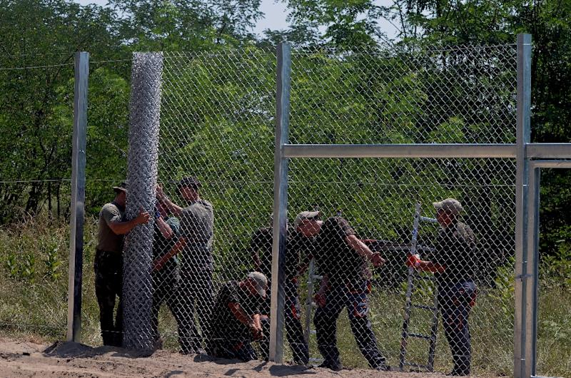 Local soldiers of the Hungarian Army's technical unit set up the first parts of the 150 meter-long fence at the Hungarian-Serbian border on July 16, 2015 (AFP Photo/Csaba Segesvari)