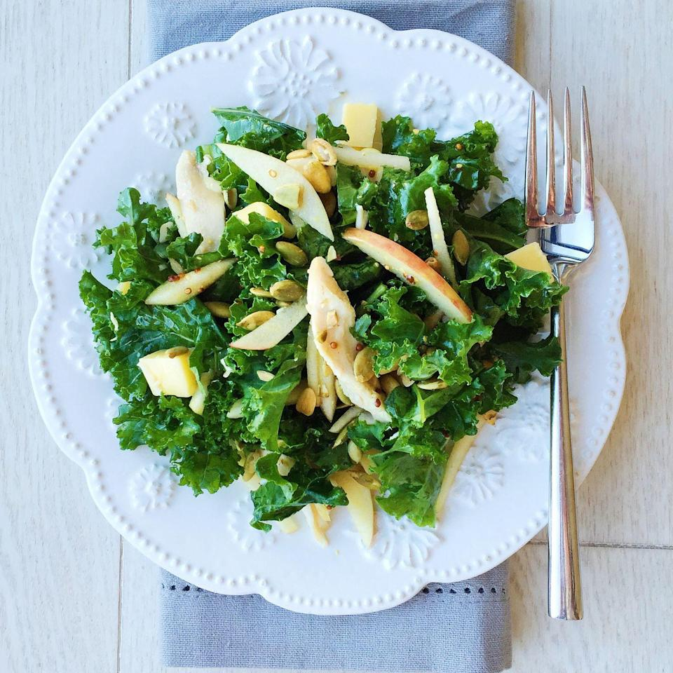 """<p>Apples, cheddar, and rotisserie chicken make a killer combo in this salad.</p><p>Get the recipe from <a href=""""https://www.delish.com/cooking/recipe-ideas/recipes/a44418/rotisserie-chicken-kale-salad-recipe/"""" rel=""""nofollow noopener"""" target=""""_blank"""" data-ylk=""""slk:Delish"""" class=""""link rapid-noclick-resp"""">Delish</a>.</p>"""