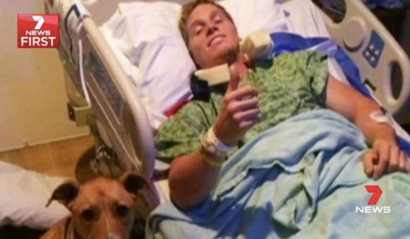 After breaking his neck, Sam was told he would never walk again. Source: 7 News