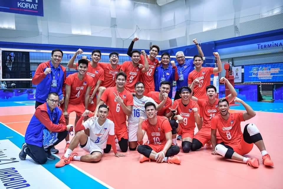 Team Rebisco of Philippines secures ninth place in the 2021 Asian Men's Club Volleyball Championships. (Photo: AVC - Asian Volleyball Confederation/Facebook)