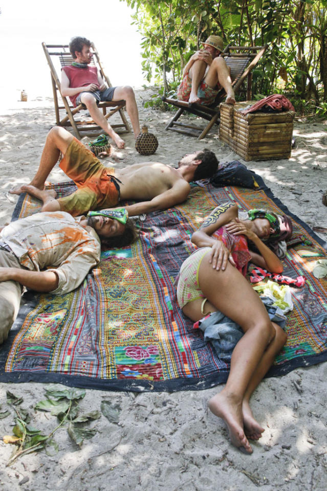 """Cut Off the Head of the Snake"" - The tribe relaxes at camp during the ninth episode of ""Survivor: Caramoan - Fans vs. Favorites."""