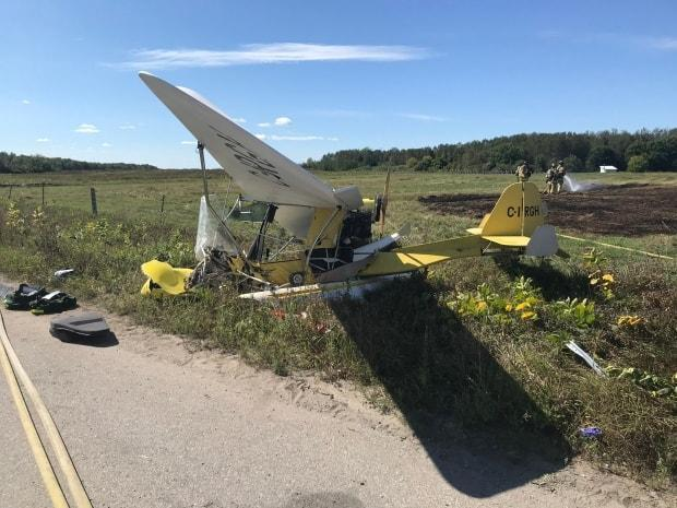 The plane took down some hydro wires with it as it crashed, according to Ottawa Fire Services.  (Ottawa Fire Services - image credit)