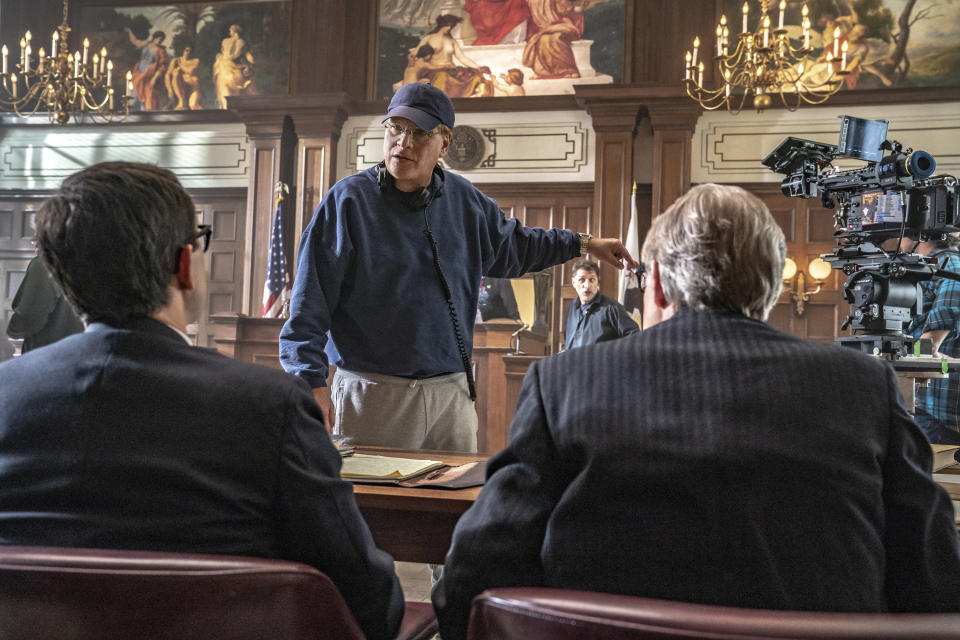 "This image released by Netflix shows Aaron Sorkin during the filming of ""The Trial of the Chicago 7."" (Niko Tavernise/Netflix via AP)"