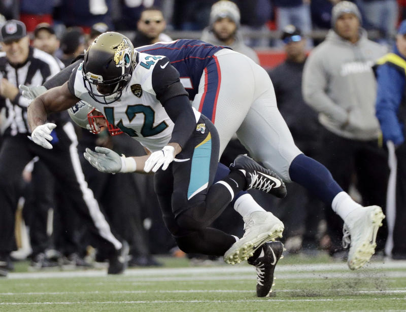 Rob Gronkowski got leveled in the first half against the Jaguars and didn't return. (AP)