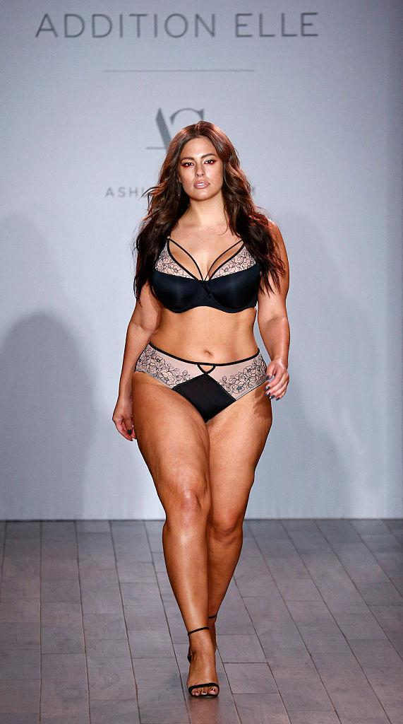 Ashley Graham walking the runway during New York Fashion Week in September 2016. (Photo: Getty Images)