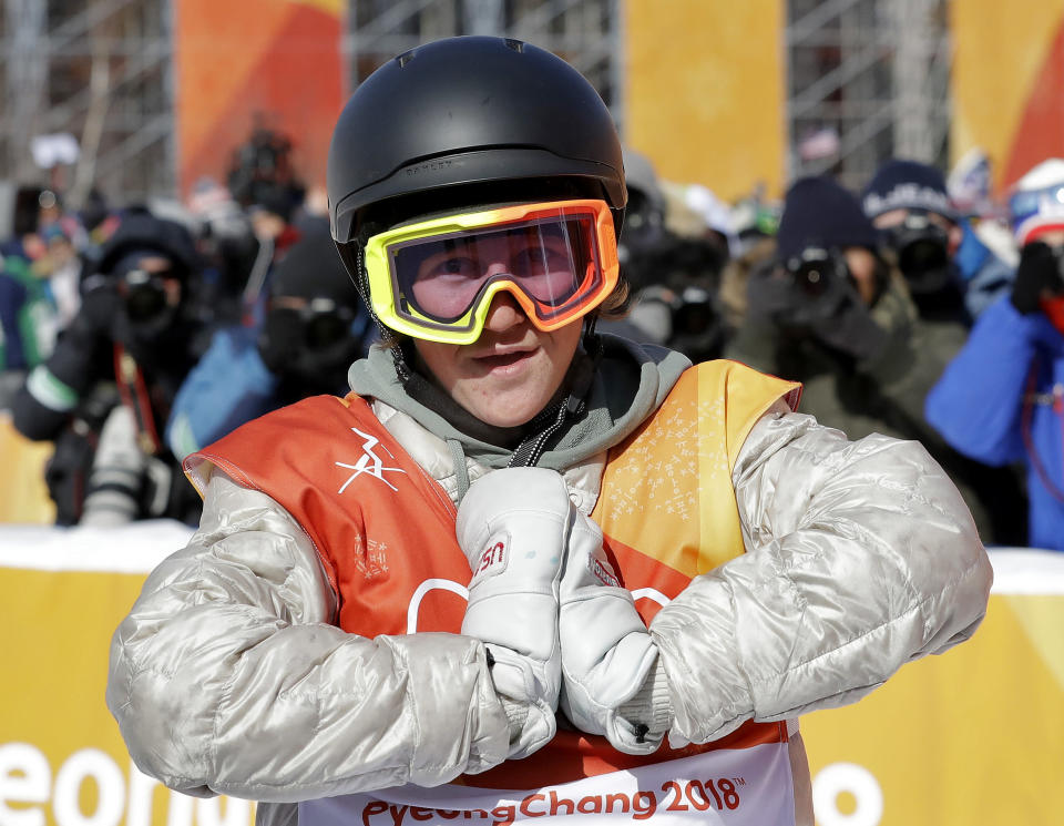 Red Gerard, of the United States, reacts after his run during the men's slopestyle final at Phoenix Snow Park at the 2018 Winter Olympics in Pyeongchang, South Korea. (AP)