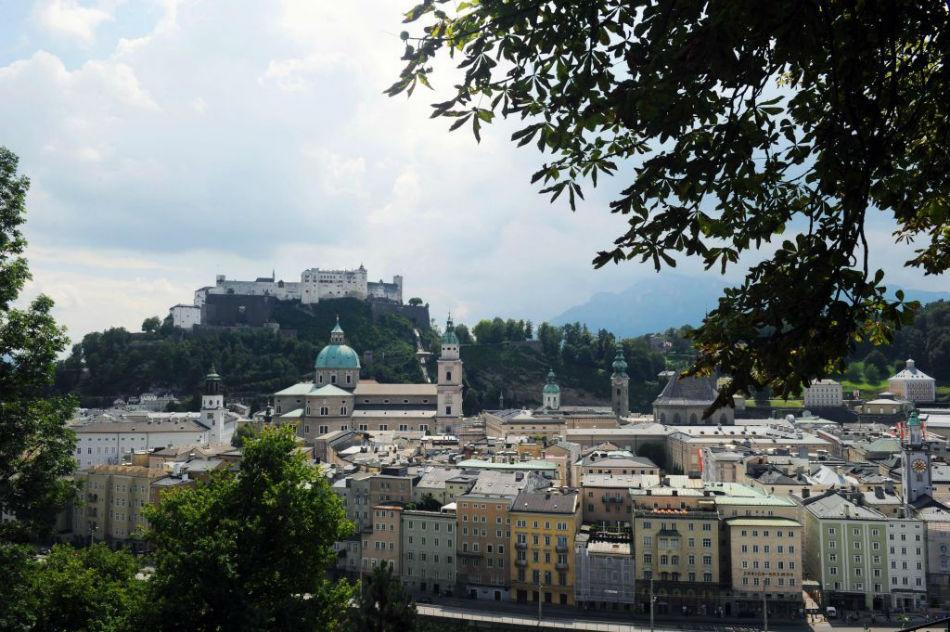 Fortress Hohensalzburg and the old town center.