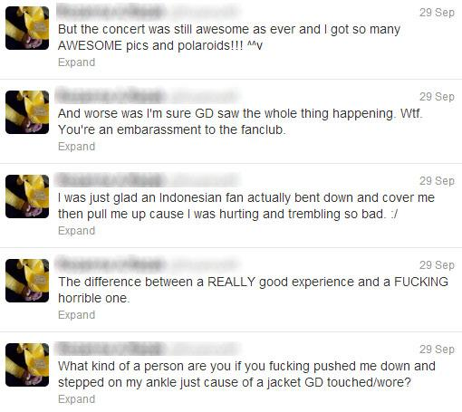 This Twitter user was also hurt when the idol threw his jacket at the crowd. (Twitter screenshot)
