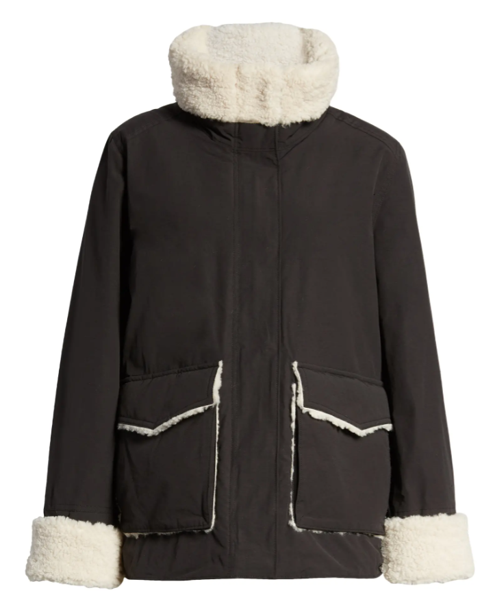 Thread & Supply Faux Shearling & Cotton Blend Barn Jacket in Black