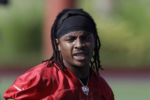 FILE - This is a June 5, 2019, file photo showing Tampa Bay Buccaneers cornerback Vernon Hargreaves, at an NFL football minicamp in Tampa, Fla. The Buccaneers have waived cornerback Vernon Hargreaves, the 11th overall pick in the 2016 draft and the most experienced starter in the team's struggling secondary. The team announced the move Tuesday, Nov. 12, 2019, two days after the fourth-year pro was benched during the second half of a 30-27 victory over Arizona because of what coach Bruce Arians described at the time as a lack of hustle. (AP Photo/Chris O'Meara, File)
