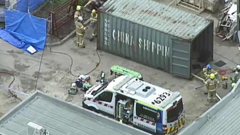 Firefighters and ambulance crews at the scene. Source: Nine News