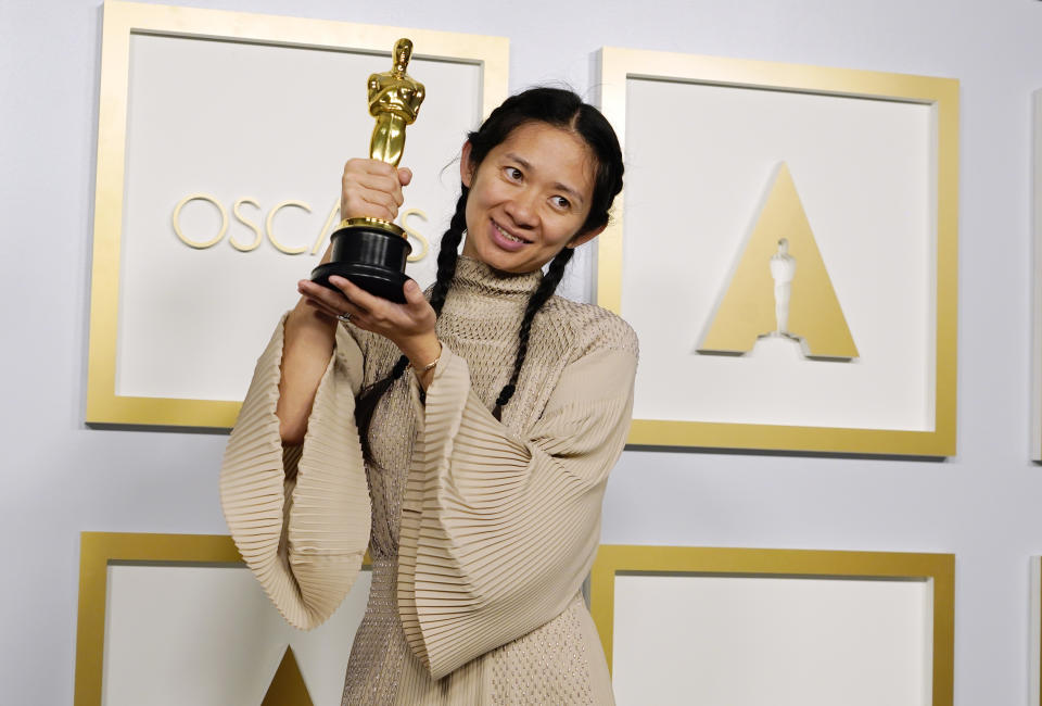 LOS ANGELES, CALIFORNIA - APRIL 25: Director/Producer Chloe Zhao, winner of Best Picture for