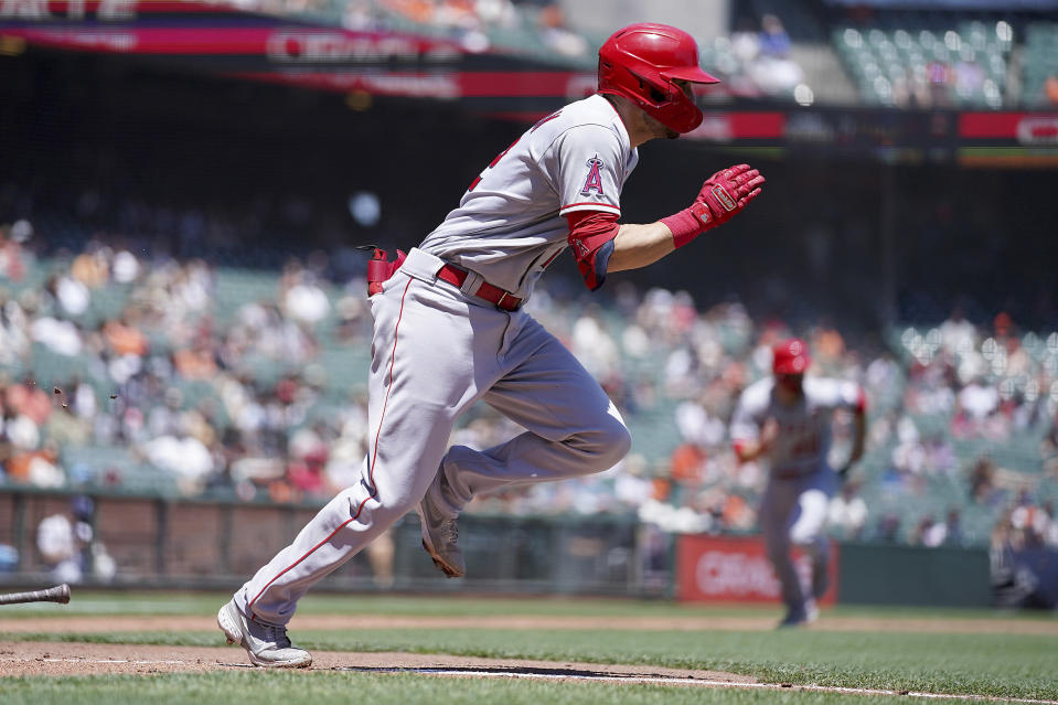 CORRECTS TO SECOND INNING NOT FIRST INNING - Los Angeles Angels' Anthony Bemboom runs to first base for a single as he drives in a run against the San Francisco Giants during the second inning of a baseball game Monday, May 31, 2021, in San Francisco. (AP Photo/Tony Avelar)