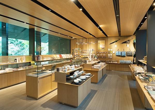 The shop is by the museum entrance. Bamboo is used for Interior design.