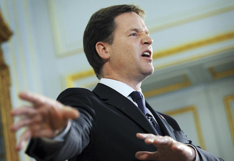 Britain's Deputy Prime Minister Nick Clegg during a press conference in central where he announced that the government will abandon plans to overhaul the 700-year-old House of Lords amid resistance from both his coalition colleagues and the opposition Labour Party Monday Aug. 6. 2012. (AP Photo/Stefan Rousseau/PA) UNITED KINGDOM OUT