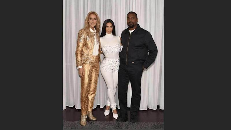Celine Dion, Kim Kardashian and Kanye West