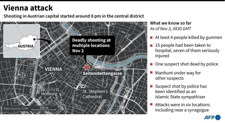 Map of the Austrian capital of Vienna, showing the area where multiple deadly shooting was reported Monday evening.