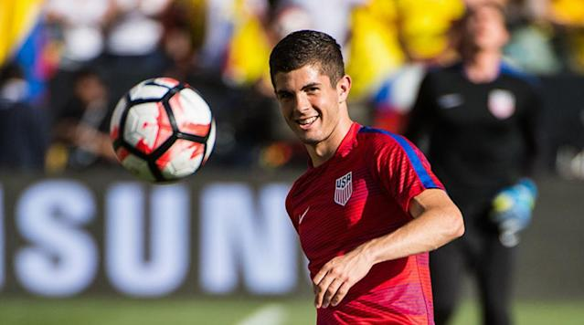 <p>Christian Pulisic of the USA warms up for the Copa America Centenario Group A match against Columbia at Levi's Stadium on June 3, 2016 in Santa Clara, Calif.</p>