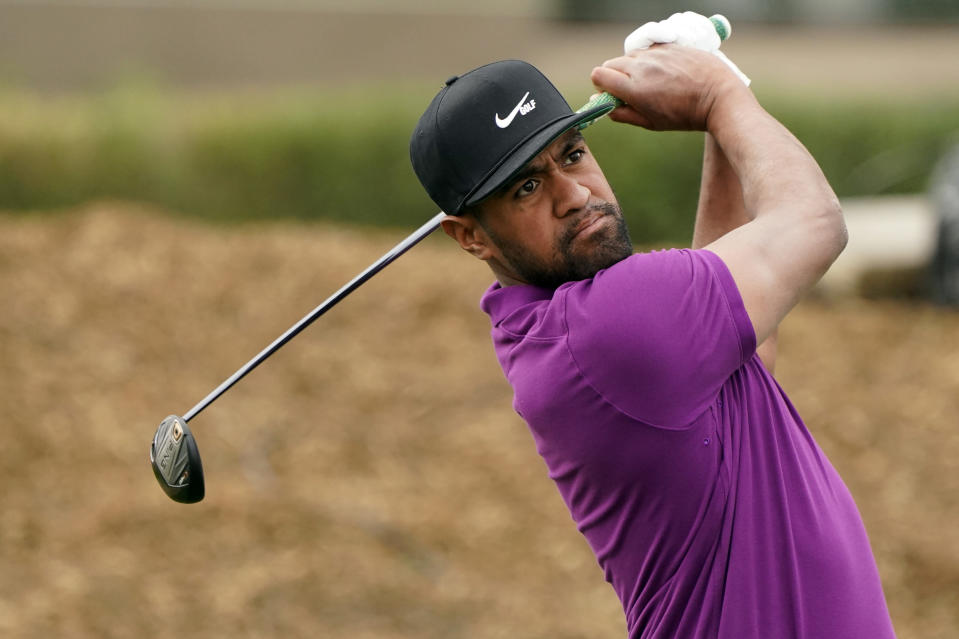 Tony Finau hits from the second tee during the third round of The American Express golf tournament on the Pete Dye Stadium Course at PGA West Saturday, Jan. 23, 2021, in La Quinta, Calif. (AP Photo/Marcio Jose Sanchez)