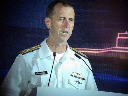 U.S. Navy operations chief John Richardson speaks at the IMDEX maritime security conference in Singapore