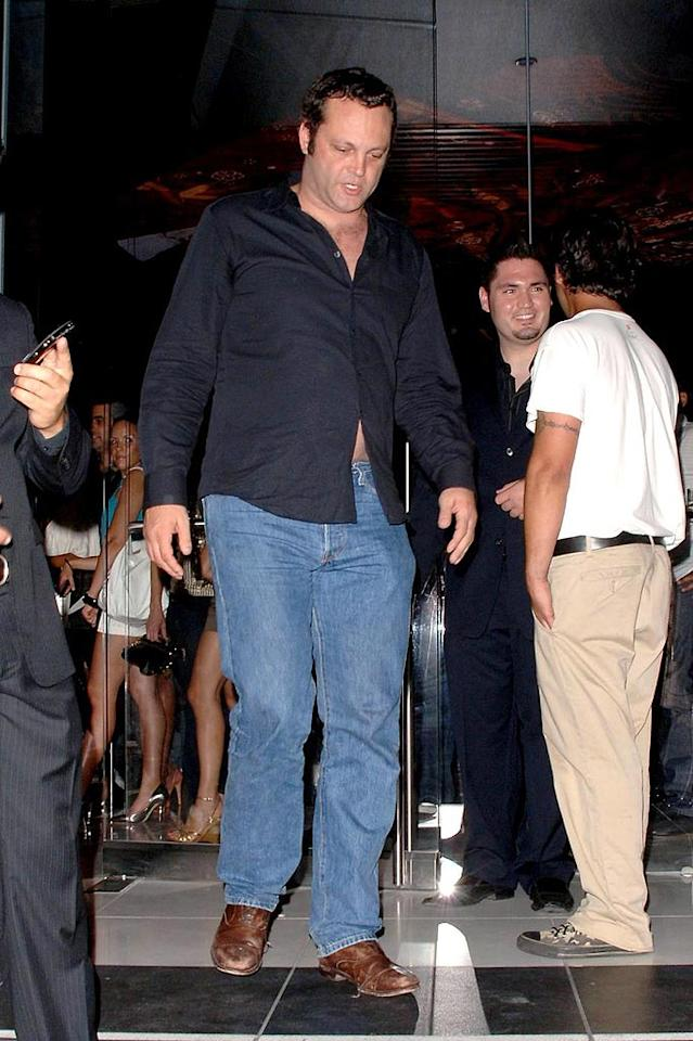 """Vince Vaughn should know better than to wear a belly-baring button-down in public! Adrian Varnedoe/<a href=""""http://www.pacificcoastnews.com/"""" target=""""new"""">PacificCoastNews.com</a> - June 21, 2008"""