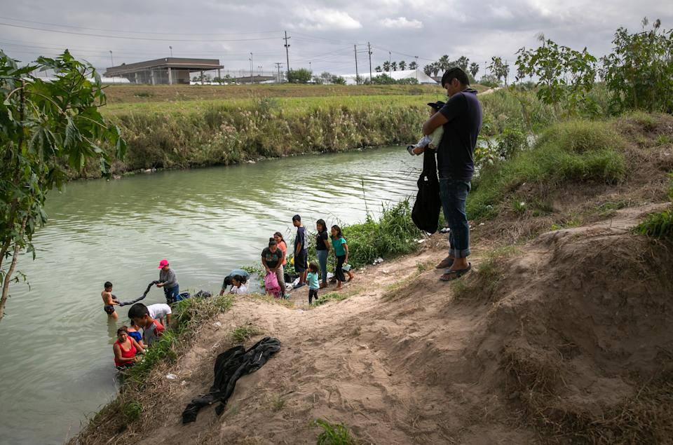 <p>Many asylum seekers have been forced to live in makeshift tent encampments along the Mexican side of the border</p>Getty
