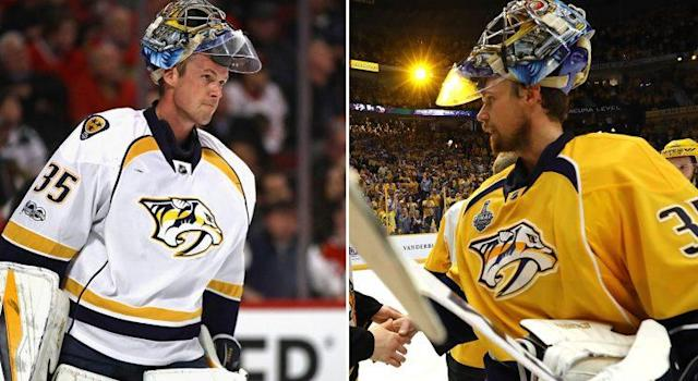 Pekka Rinne during Game 1 against the Blackhawks (Jonathan Daniel/Getty) vs. Pekka Rinne after Game 6 of the Stanley Cup Final (Bruce Bennett/Getty).