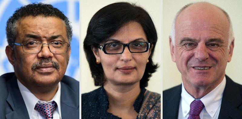 The three finalists in the running to be the next director-general of the World Health Organization are (L-R) Tedros Adhanom, Sania Nishtar and David Nabarro